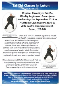 Luton Tai Chi beginners classes